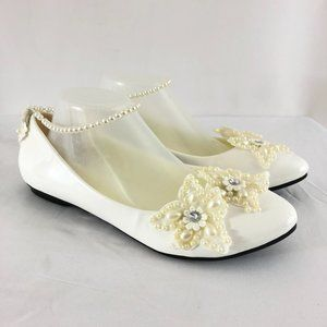 Womens Ballet Flats Ankle Strap Faux Pearls Flower